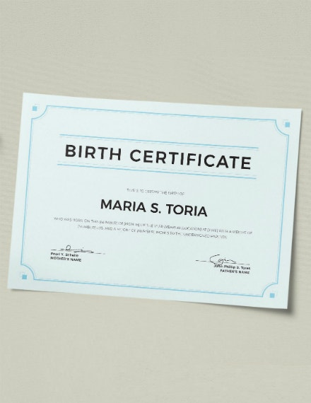 minimal ornate birth certificate example