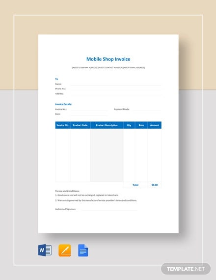 mobile shop invoice template