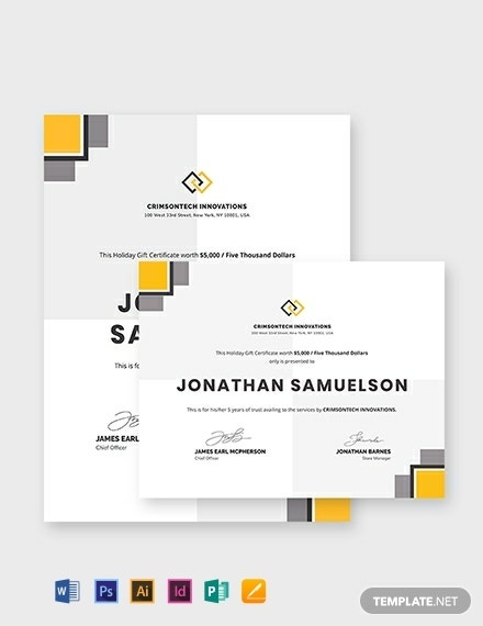 modern company gift certificate format