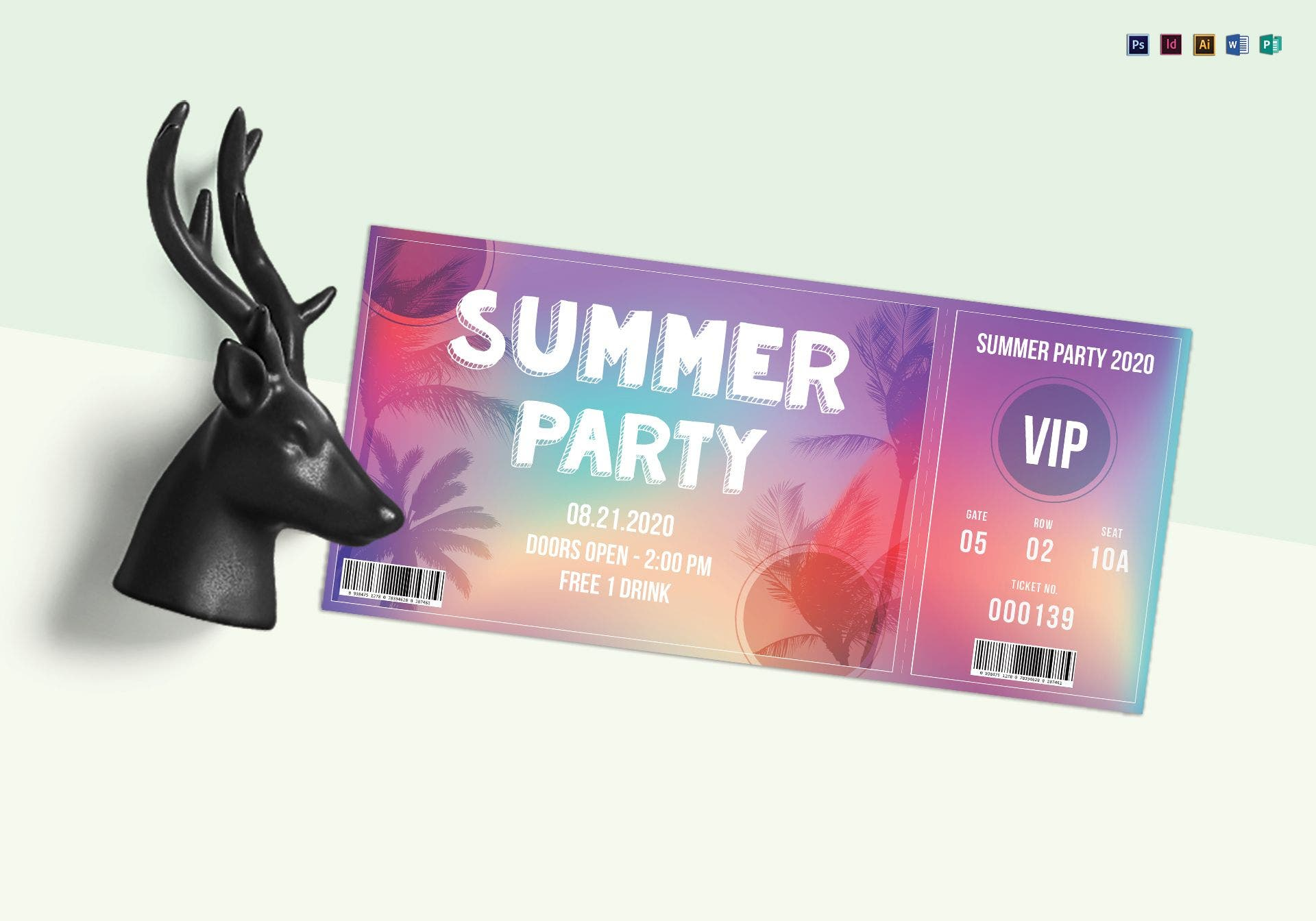 modern summer party ticket sample