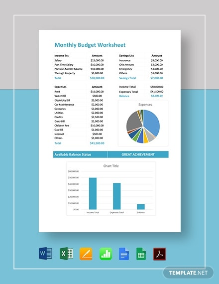 monthly budget worksheet template 8
