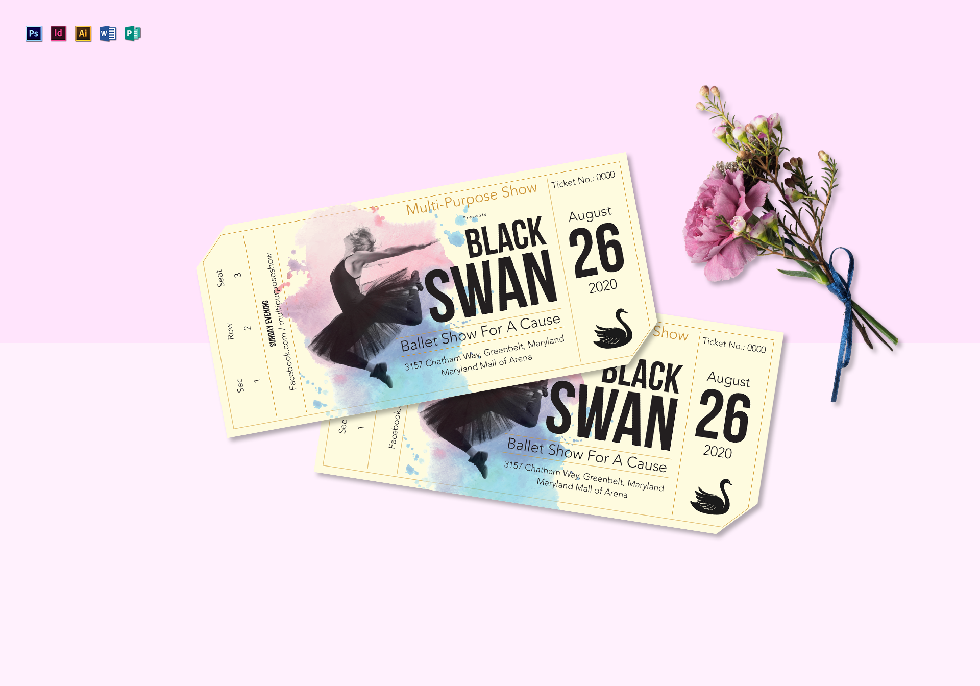 multipurpose event show ticket example