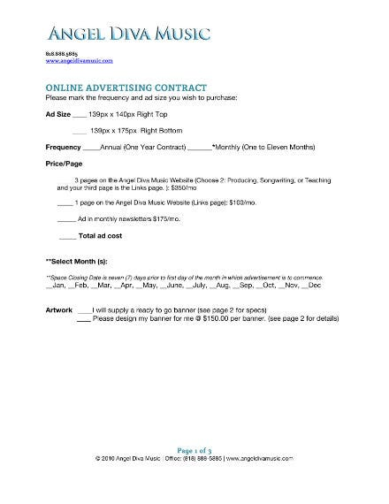 music online advertising contract 1