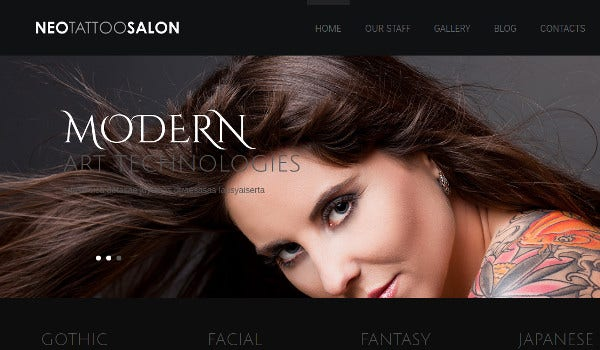 neo tattoo salon 100 responsive wordpress theme