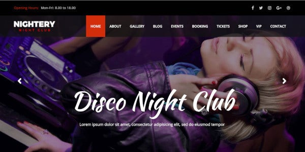 nightery disco night club wp theme