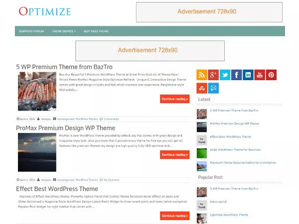 optimize one click demo wordpress theme