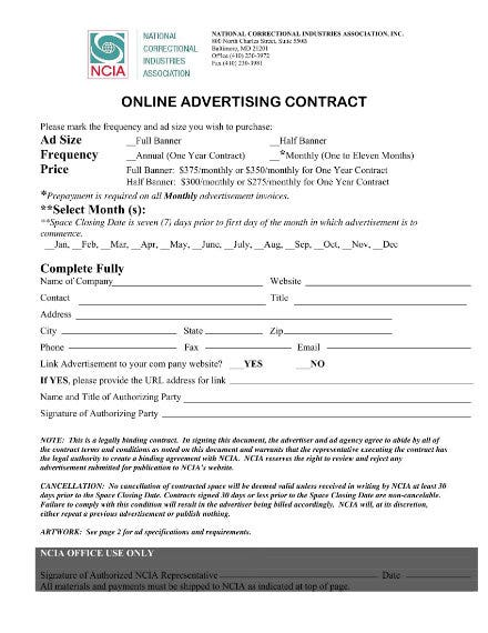 organization online advertising contract 1