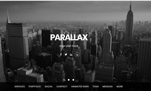 parallax responsive and retina ready wordpress theme
