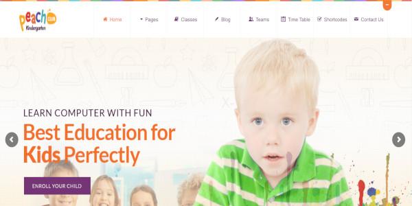 peachclub kindergarten school wordpress theme