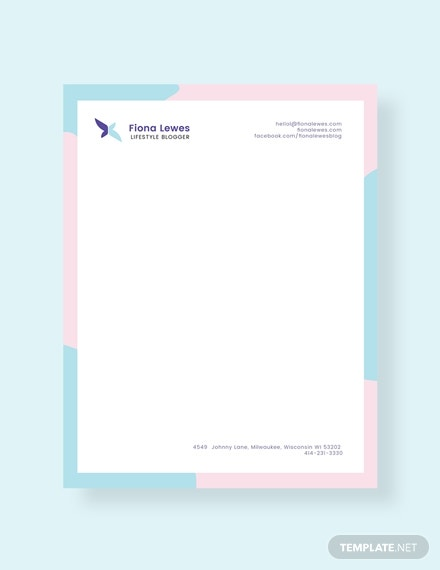 personal blogger letterhead layout