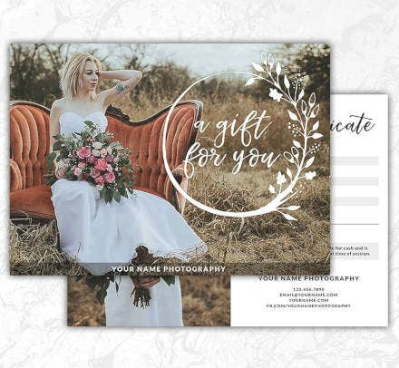 photography gift certificate psd template