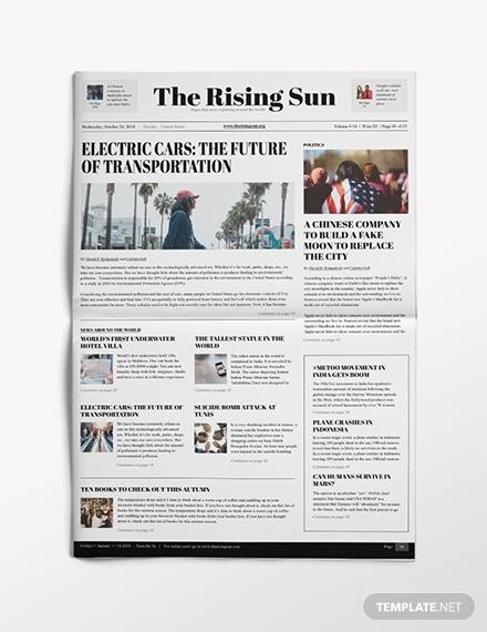political newspaper template