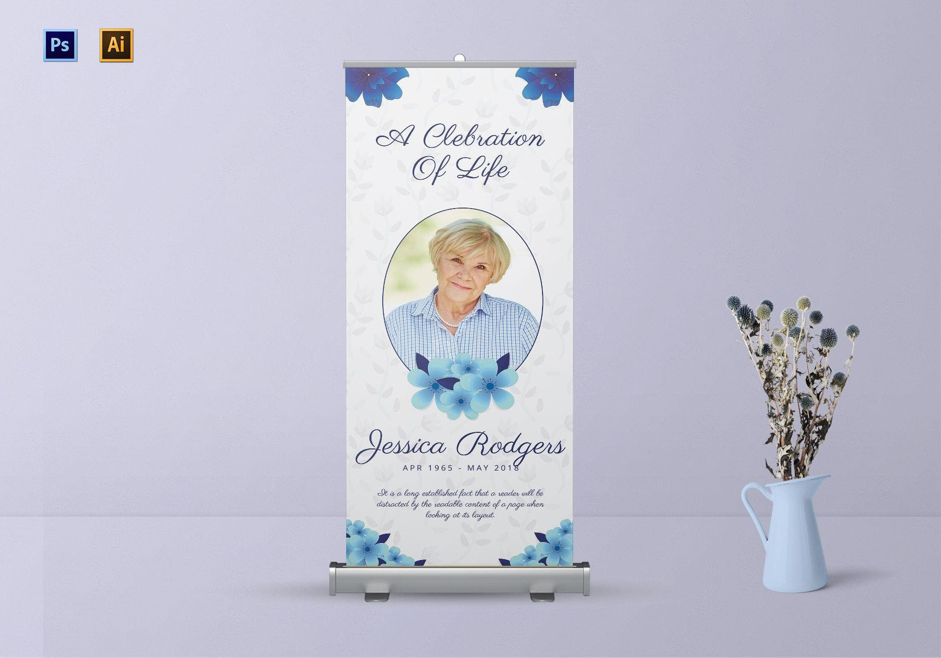 premium funeral roll up banner template