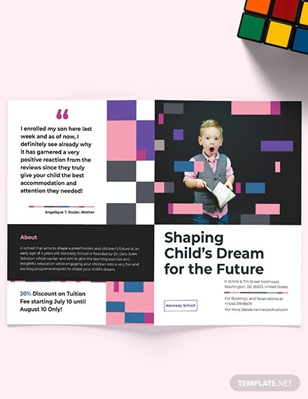 preschool educational bi fold brochure template
