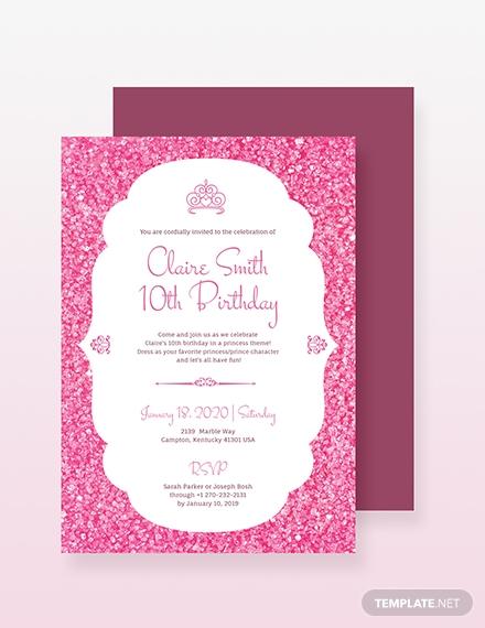 princess party invitation design