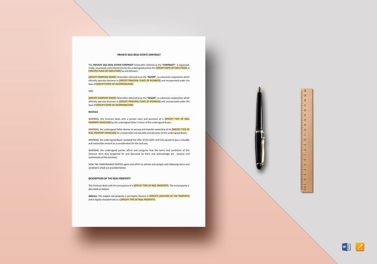 private sale real estate contract mockup