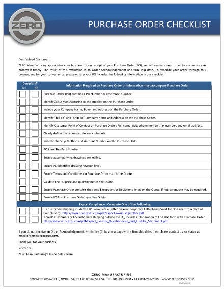 purchase order checklist template 1
