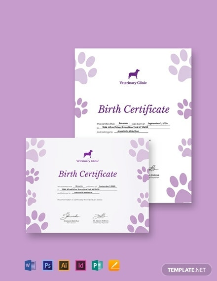 purple paws birth certificate layout