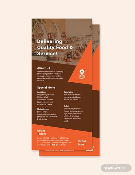 quality catering rack card example