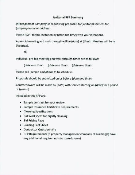 rfp template janitorial services 1