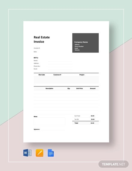 real estate invoice template