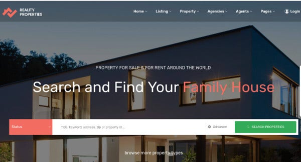 reality properties slider option wordpress theme