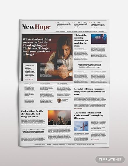 religious newspaper template