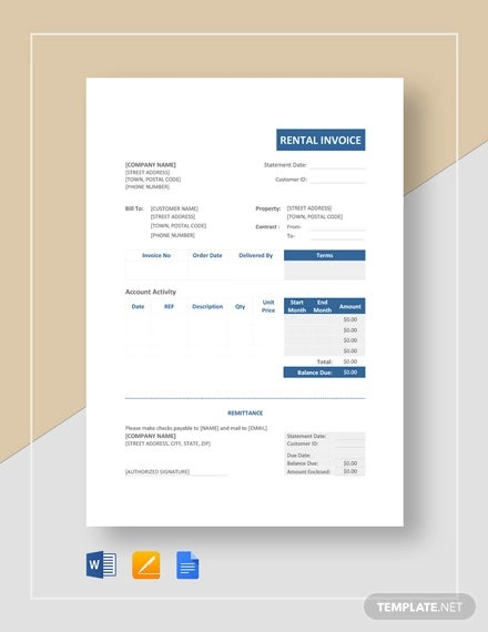 rental invoice template