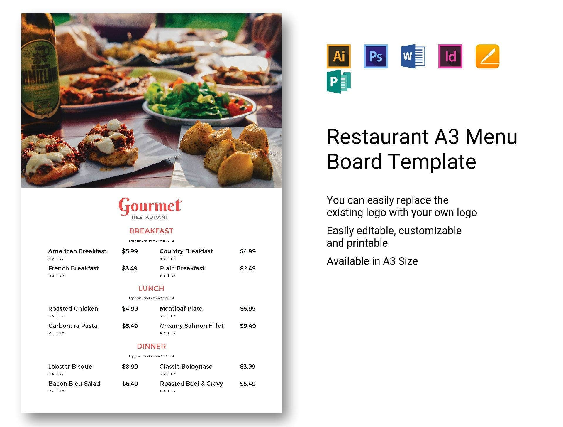 restaurant-a3-menu-board-template