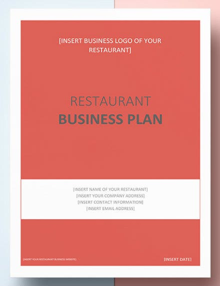 restaurant business plan template mockup