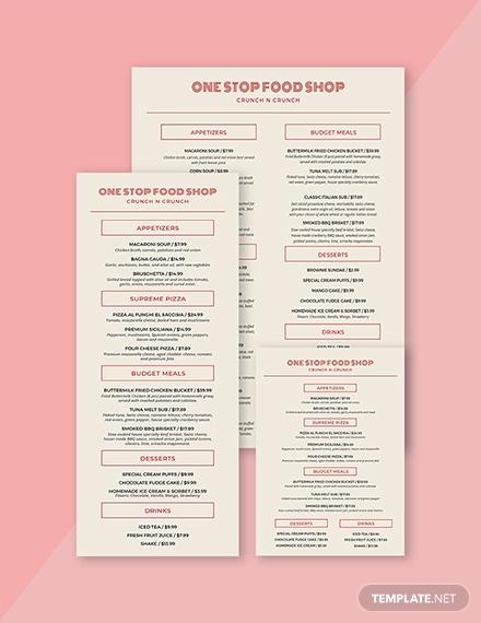 restaurant food and drinks menu template
