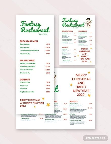 restaurant holiday menu template
