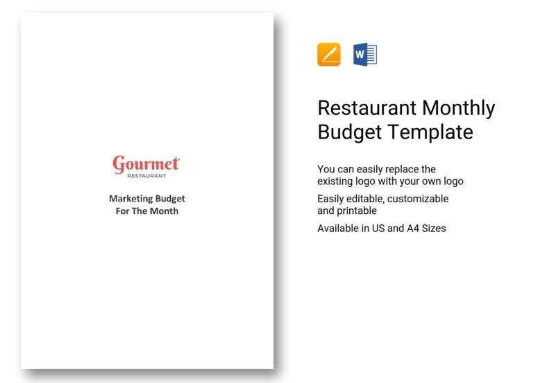 restaurant monthly budget template 788x553