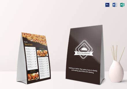 restaurant table tent menu template