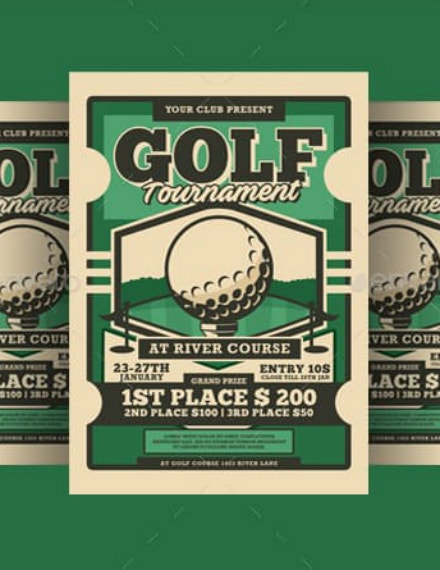 Retro Golf Tournament Flyer Template