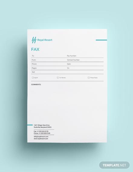 royal resort fax paper template