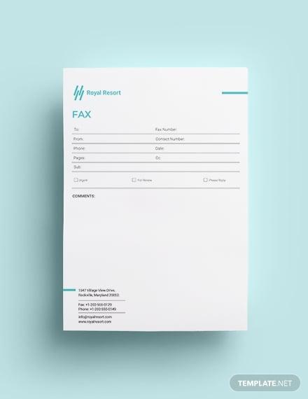 royal resort fax paper template1