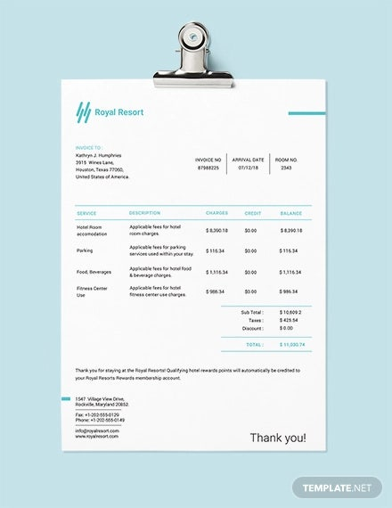 royal resort invoice template