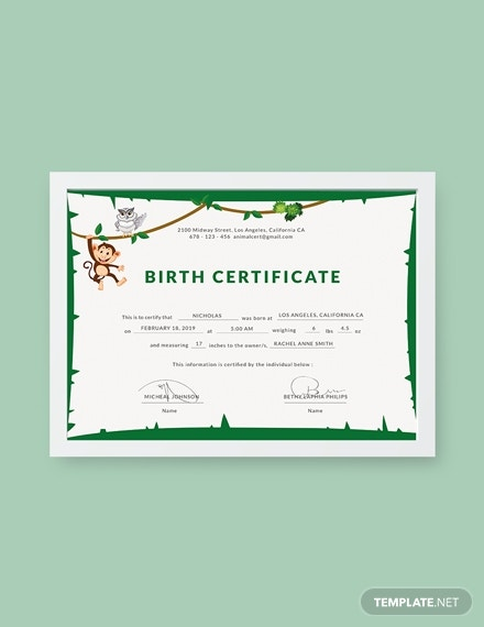 rustic animal birth certificate sample