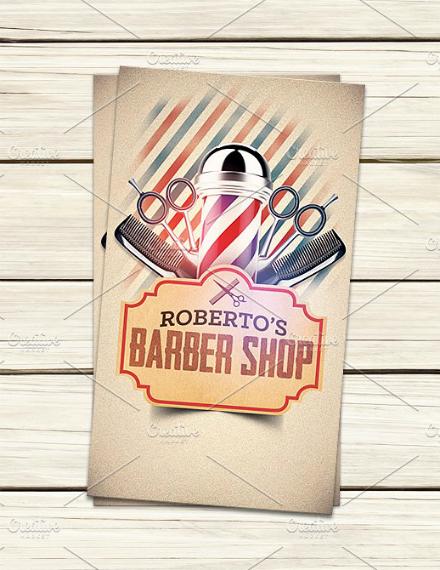 rustic barber business card sample