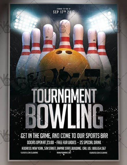 rustic tournament bowling flyer template