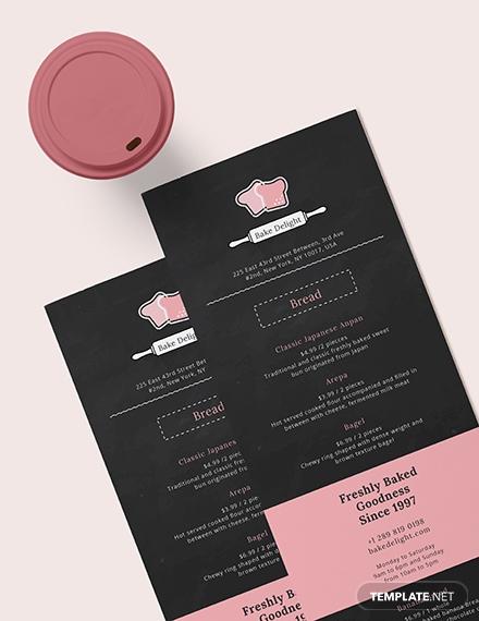 sample bakery menu
