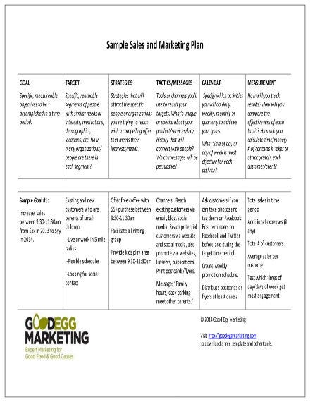sample sales and marketing plan 1