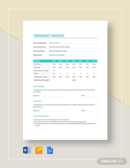 sample time sheet invoice template
