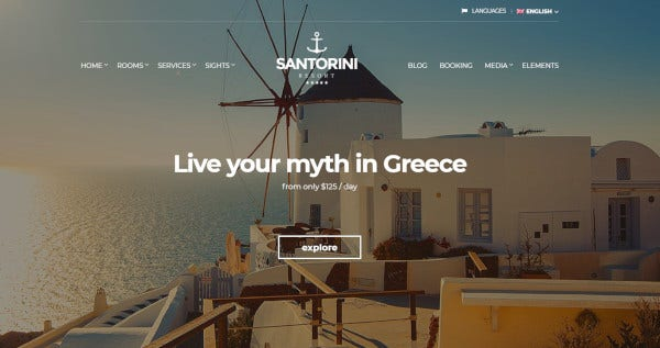 santorini resort – wordpress theme for hotels