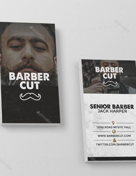 senior barber business card example