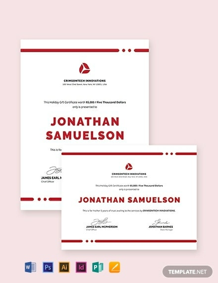 simple company gift certificate layout