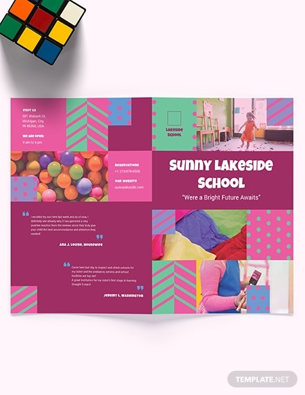 simple preschool bi fold brochure sample