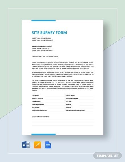 12 Site Survey Templates Pdf Word Free Premium Templates