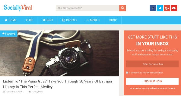 sociallyviral social media friendly wordpress theme